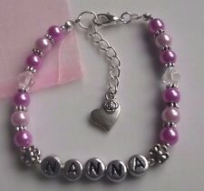 Hand made stretch glass pearl beaded NANNA bracelet Mothers Day gift 7inch + ext