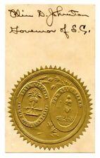 OLIN D JOHNSTON, South Carolina Governor/US Senator, Signature Autograph (7757)