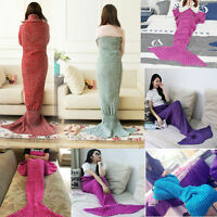Super Soft Crocheted Mermaid Tail Blanket Knitting kids&Adult Sofa Sleeping Bag*