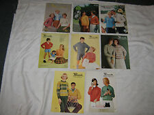 A Vintage Lot of 8 Ass't Patons & Peacock Knitting Pattern Booklets