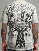 Rebel Saints AFFLICTION Men T-Shirt CARDINAL Cross Fight Biker MMA L-XXL $40