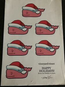 VINEYARD VINES~CHRISTMAS SANTA HAT~hydro flask STICKERS 1x6 SHEET~Collector 2017