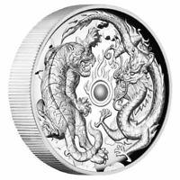 2018 Dragon & Tiger 2 oz High Relief Proof Silver Coin