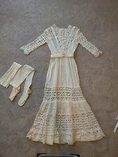 New listing Edwardian 1910s Antique ivory white Crochet lace Cotton Dress w belt & stockings