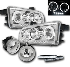 2006-2009 DODGE CHARGER CHROME PROJECTOR HALO LED HEAD LIGHTS+FOG LAMP+WHITE DRL
