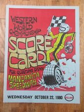 Vintage Manzanita Speedway Arizona 1980 Scorecard Qualifying Race Program
