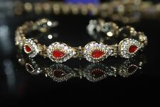 Ruby 925 Silver Eternity Bracelet Turkish Handmade 0.25 Carat Pear Cut