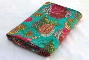 Kantha Quilt Green Indian Bedsheet Handmade Gudari Cotton Queen Size Bedspread