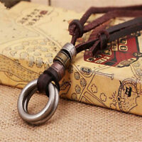 Men Fashion Retro Leather LUS Cord Necklace Double Circle Ring Pendant Jewelry