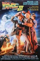 MICHAEL J FOX CHRISTOPHER LLOYD SIGNED BACK TO THE FUTURE 3 27X40 POSTER PSA LOA