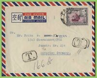K.U.T. - Tanganyika KGVI 50c on airmail cover to Germant with 'T' (Tax Due)