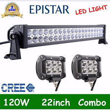 "22inch 120w Led Work Light Bar Combo + 4"" Pods 18W CREE Spot Driving Offroad OFF"