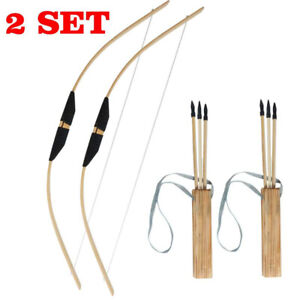 2 Set Archery Wooden Bow & Arrows Quiver Set Kids Outdoor Hunting Target Toys