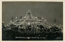 A View of the Bandstand at Night, Westcliff on Sea, Essex UK RPPC