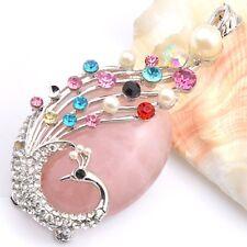 """Huge Natural Rose Quartz  Multi-color Topaz Gemstone Silver Necklace Pendant 3"""""""