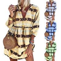 Plus Size Women Floral 3/4 Sleeve Mini Smock Dress Summer Boho Beach Loose Dress