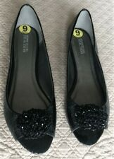 NEW in Box, Mock Croc Textured Black Flats w/ Beaded Detail, sz 9 Kenneth Cole