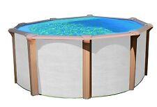 Pool Set Stahlwand-Becken Schwimmbecken white Wood 4,60 X 1,35m Schwimmbad