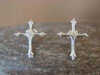 Native American Sterling Silver Cross Post Earrings! Navajo Indian Jewelry