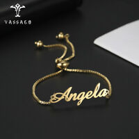 Personalized Custom Name Bracelet  Adjustable Box Chain Beads Exquisite Jewelry