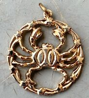 VINTAGE CANCER CHARM PENDANT CRAB GOLD TONE METAL ASTROLOGY JEWELRY NOS