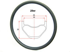 Hookless 29er AM carbon mtb bike rim 35mm width,25mm deep tubeless compatible
