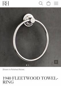 "Restoration Hardware Lefroy Brooks 1940 Fleetwood 6"" Towel Ring Polished Nickel"