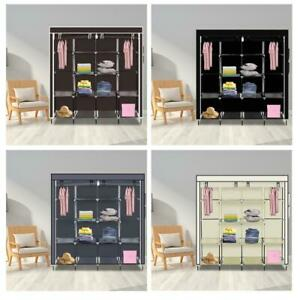 Portable Large Fabric Canvas Wardrobe Clothes Storage Rail Cover Cupboard