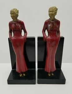 Pair Vintage Bookends Art Deco Lady Flapper JB Hirsch? Antique Cast Metal Figure