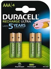 4 x Duracell AAA Ultra 900 mAh Rechargeable Accu HR03 Batteries - Pack of 4