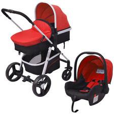 3-in-1 Kombi Kinderwagen Buggy Babywanne Babyschale Aluminium Rot und Schwarz
