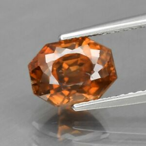 3.37ct 8.3x6.3mm Octagon Natural Imperial Champagne Zircon Gentle Heat Cambodia