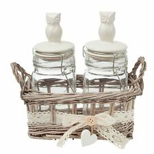 2 X OWLS CLEAR GLASS JAR WITH WICKER BACKET CREAM BEIGE