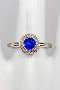 NEW $6000 Ritani CERTIFIED Cornflower Blue Sapphire Diamond 18k White Gold Ring