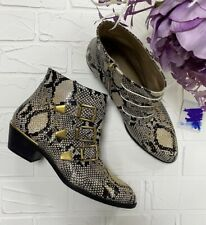 Authentic Chloe Susanna Python Print Leather Studded Ankle Boots Size EU 39 US 9