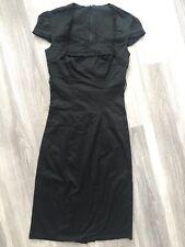RARE WOMENS BLACK PLAIN FRILL DESIGN BODYCON DRESS SZ 8 UK CAP SLEEVES FORMAL