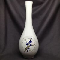 Vintage Signed Otagiri Grand IRIS Flower VASE Japan Porcelain Gold Trim 7.5""