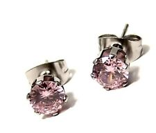 Pink Ice Stud Earrings 5mm Hypoallergenic Surgical Steel Carded