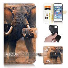 ( For iPod Touch 6 ) Wallet Flip Case Cover AJ21112 Elephant in dust