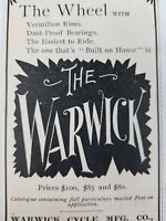 1895 Original Antique Warwick Cycle Mfg. Co., Springfield Mass.  Print Ad Art