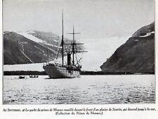 SPITZBERG YACHT PRINCE DE MONACO GLACIER DE SVARTIS IMAGE 1950 OLD PRINT