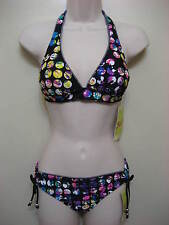 Hobie Banded Halter Top & Shirred Hipster Bottom 2PC Bikini Set Black Sz L NWT