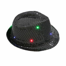 Flashing Light up LED Fedora Trilby Sequin Unisex Fancy Dress Dance Party Hats Black