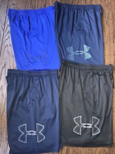 UNDER ARMOUR mens medium lot of {4} athletic shorts blue black gray