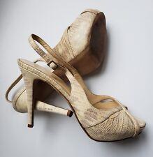 Kate Spade Heels Open Toe Slingbacks Gold Snake Skin 8.5