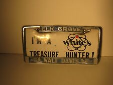 Elk Grove Walt Davis Chevrolet License Plate Frame Embossed Vintage Metal Rare