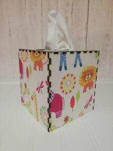 Tissue Box Cover Made W/ Boogie Jungle Fabric Cube Square Children's Nursery