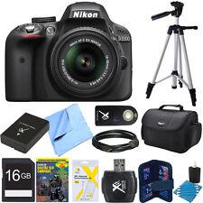 Nikon D3300 DSLR 24MP HD 1080p Camera 18-55mm Lens Black REFURBISHED 16GB Bundle