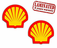 2 PVC Vinyle Autocollants Shell Gasoline Gaz Oil Logo Stickers Voiture Auto Moto