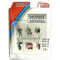 AMERICAN DIORAMA 38401 DIECAST MECHANIC GARAGE FIGURES 1/64 SET of 6